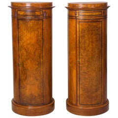 Pair of Danish Empire and Biedermeier Cylinder Cabinets in Burled Walnut