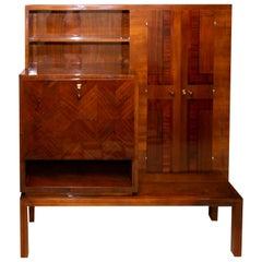 Functionalist Art Deco Walnut Secretary, Sideboard, 1930s