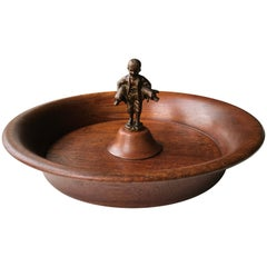Mid-Century Danish Modern Teak Bowl with Metal Figurine