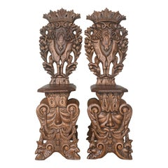 Pair of 18th Century Italian Renaissance Lion Carved Walnut Sgabello Hall Chairs