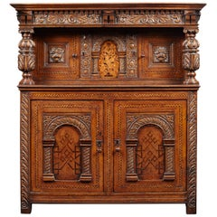Elizabethan Oak and Inlaid Court Cupboard, English, circa 1580-1600