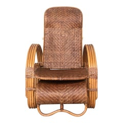 20th Century Adjustable Bentwood and Rattan Chaise Longue  with Ottoman Inserted