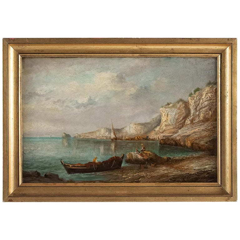 Lapierre Emile, Oil on Panel French Fishing Landscape, circa 1850 For Sale