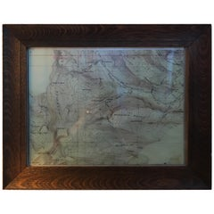 Topographical Map of the Pennsylvania Mountains in a Quarter Sawn Oak Frame