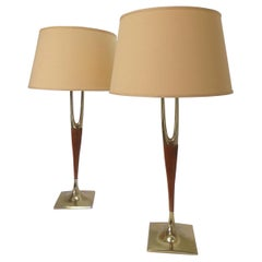 Pair of Laurel Wishbone Table Lamps, circa 1960s