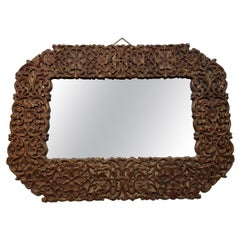 20th Century Large Modern Designed Mirror with Richly Carved Wooden Frame