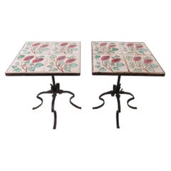 Pair of Ceramic Tile and Wrought Iron Side Tables, circa 1960s