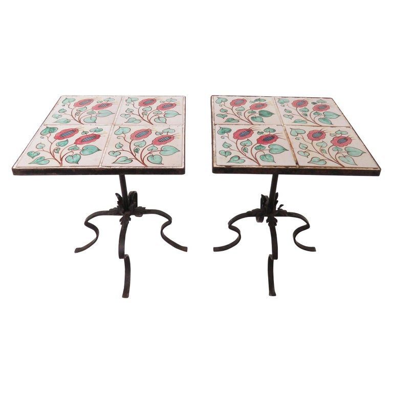 Pair of Ceramic Tile and Wrought Iron Side Tables, circa 1960s For Sale