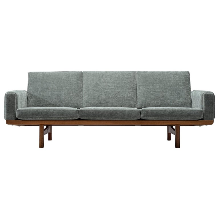 Reupholster Sleeper Sofa: 1930s Wood And Fabric Sofa Reupholstered In Grey Fabric