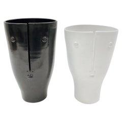 Dalo, Pair of Black and White Ceramic Vases