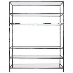 Oversize Chrome and Glass Etagere