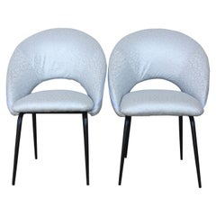 Midcentury Pair of Italian Chairs with Arched Seats and Arched Backrest