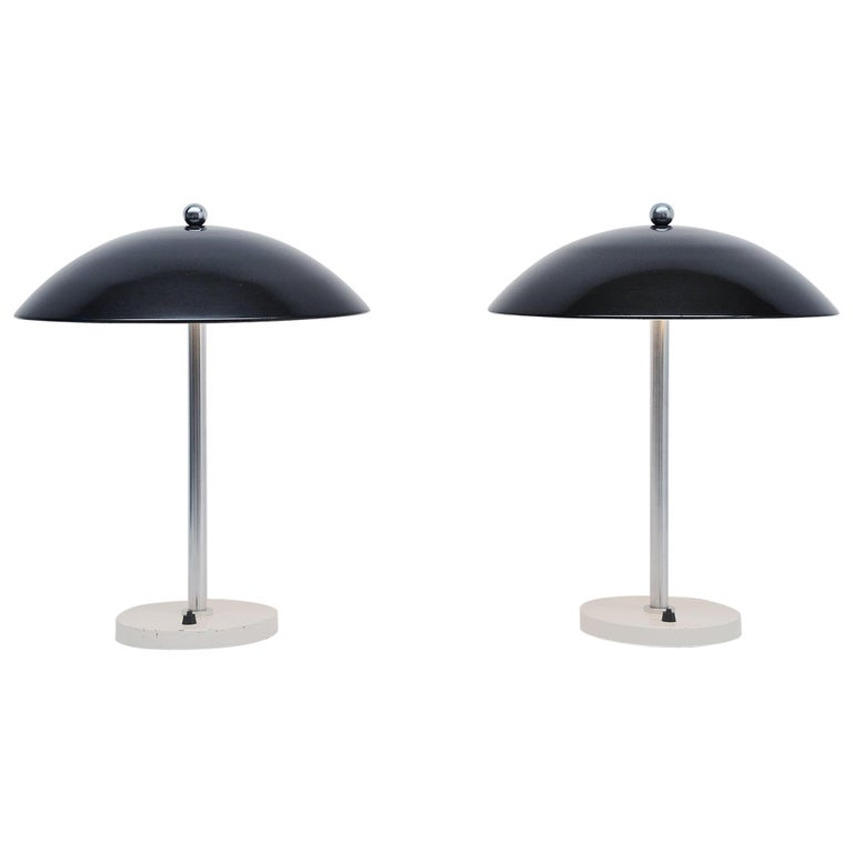 Wim Rietveld Mushroom Table Lamp Pair Gispen 1950 For Sale
