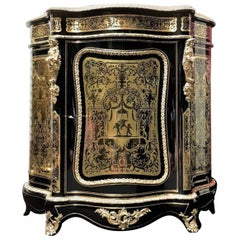 Boulle Cabinet in Brune Tortoise Shell Brass Marquetry, Napoleon III France