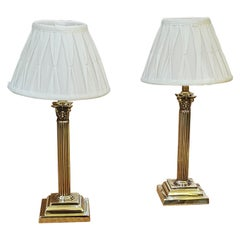 Pair of Brass Corinthian Table Lamps