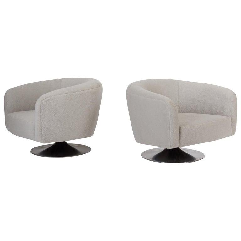 Milo Baughman Disc Base Swivel Chairs