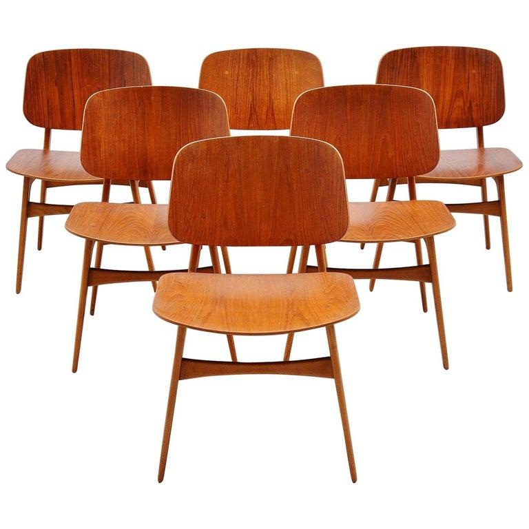 Borge Mogensen Soborg Dining Chairs Denmark 1950 For Sale