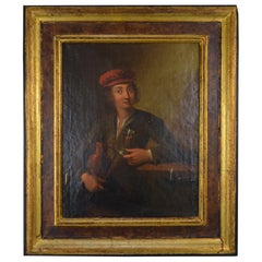 Portrait of a Man with a Wine Glass and a Pitcher Flemish School 19th Century