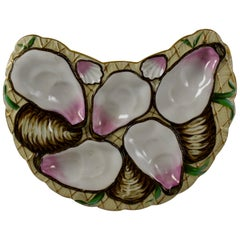 Porcelain Half Moon Pink Shell on Cream and Gilded Oyster Plate