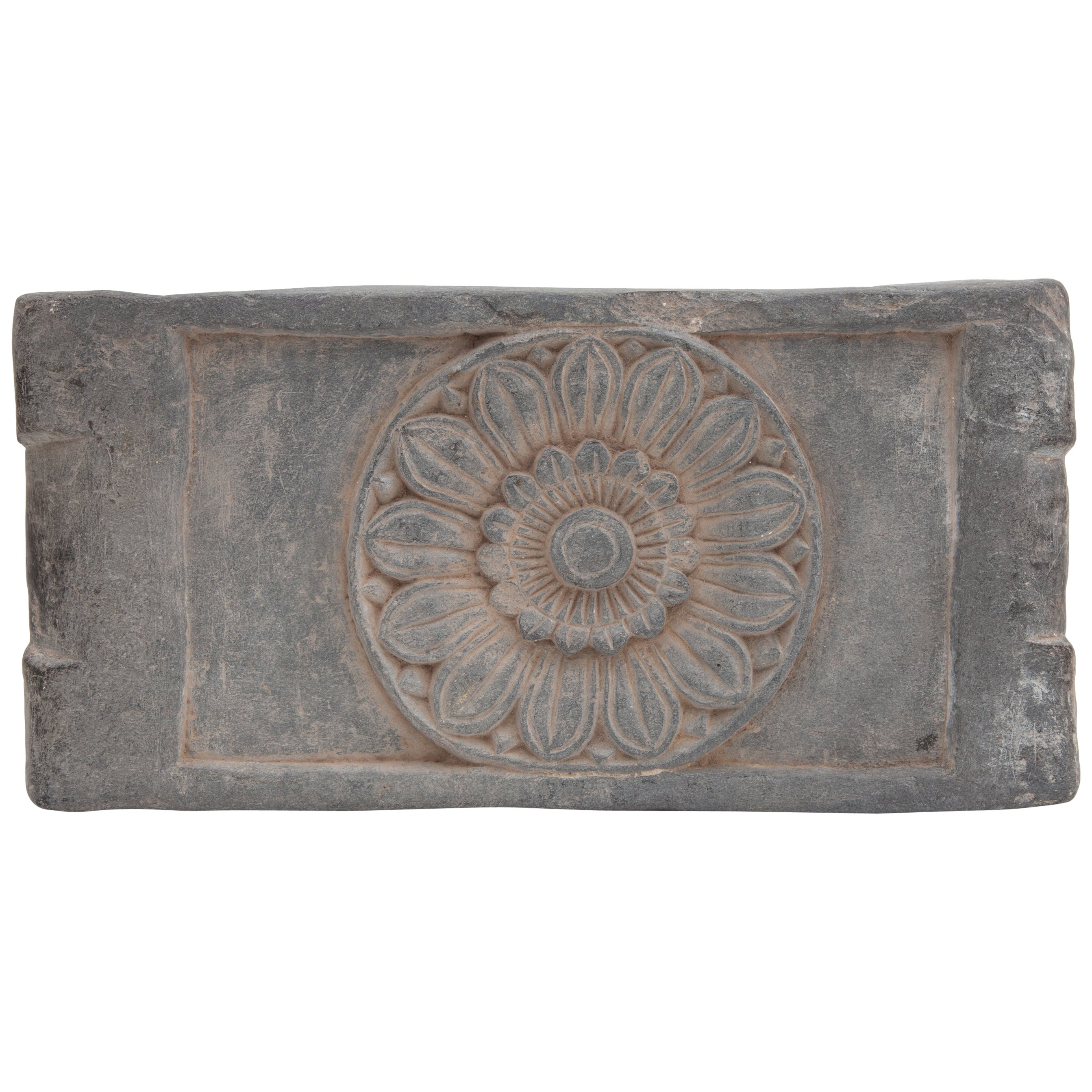 Ancient Buddhist Stone Tabletop Altar with a Lotus Flower