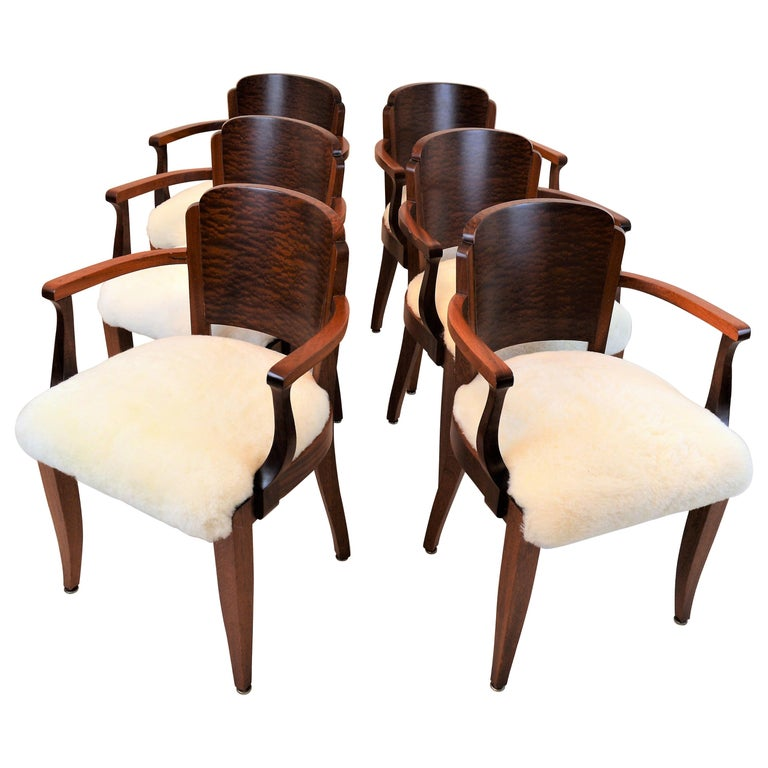 Gaston Poisson Art Deco Armchairs Covered with Sheepskin in Solid Mahogany For Sale