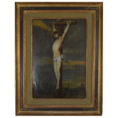 Painting Crucifix 19th Century Flemish School Oil on Board
