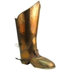 Mid-Century Modern Brass Riding Boot Umbrella Stand