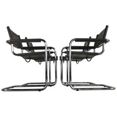 Mid-Century Modern Leather and Chrome Cantilever Chairs by Mart Stam for Fasem