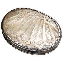 Spanish Carved Mother of Pearl Box with Silver Mounts, 17th Century