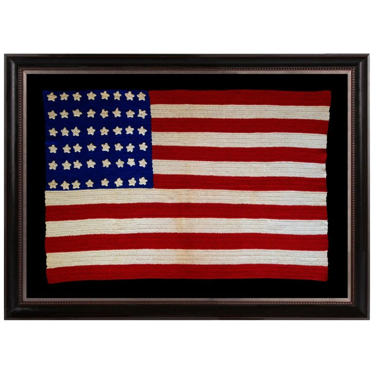 48 Stars Crocheted American Flag, Made During WWI-WWII  For Sale