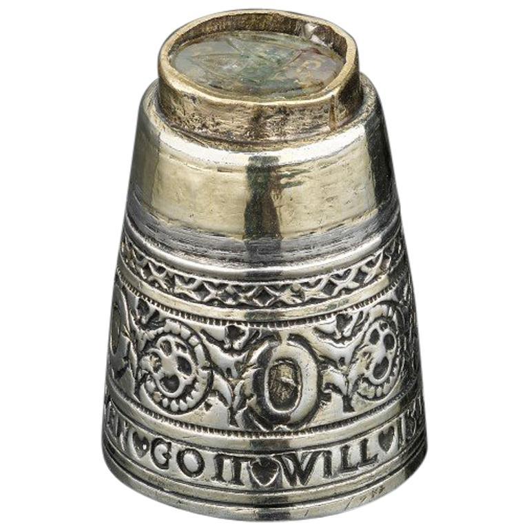 Very Rare Silver and Parcel Gilt Thimble, German, circa 1609