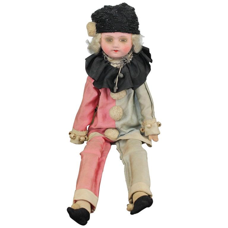 1920s French Boudoir Salon Harlequin Doll, Pierrot Doll