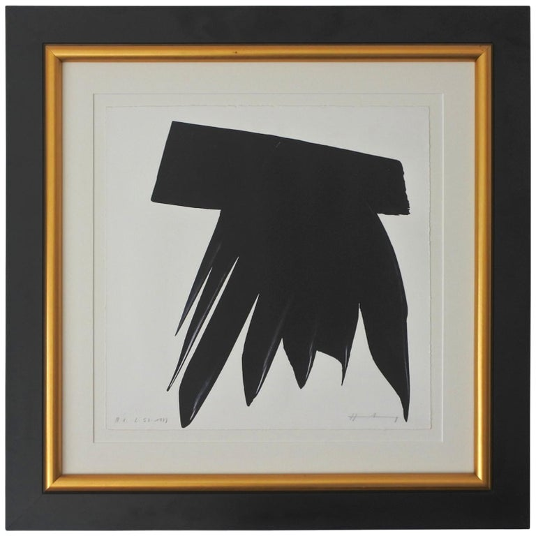 Hans Hartung Framed Abstract Lithograph L-53, Pencil Signed and Dated 1973