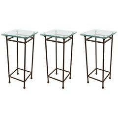 Modern Minimalist Metal & Glass Side Tables or Pedestals