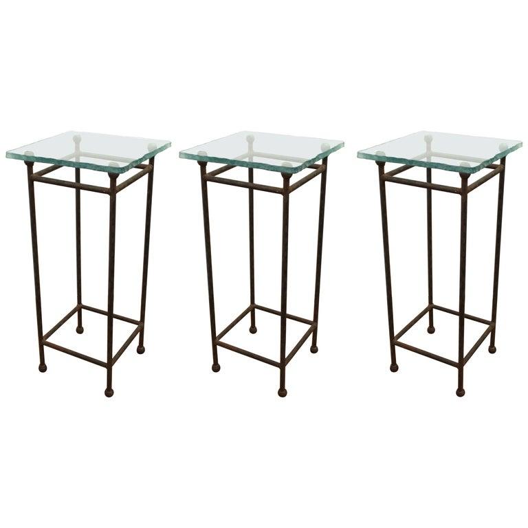 Modern Minimalist Metal & Glass Side Tables or Pedestals For Sale