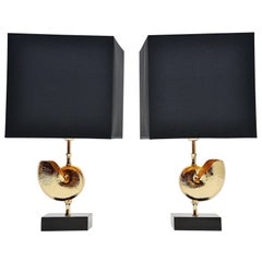 Maison Charles Shell Table Lamp, Pair, France, 1970