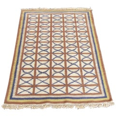 1975 Vintage Handwoven Kilim Indian Rug Blue Brown Yellow Ivory Background India