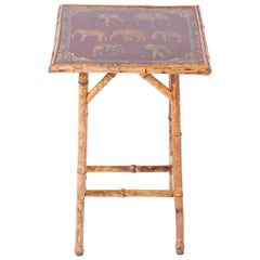 Antique English Bamboo and Elephant Decoupage Table