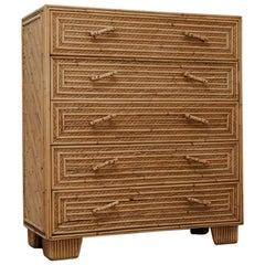 20th Century Rattan or Wicker Chest of Drawers