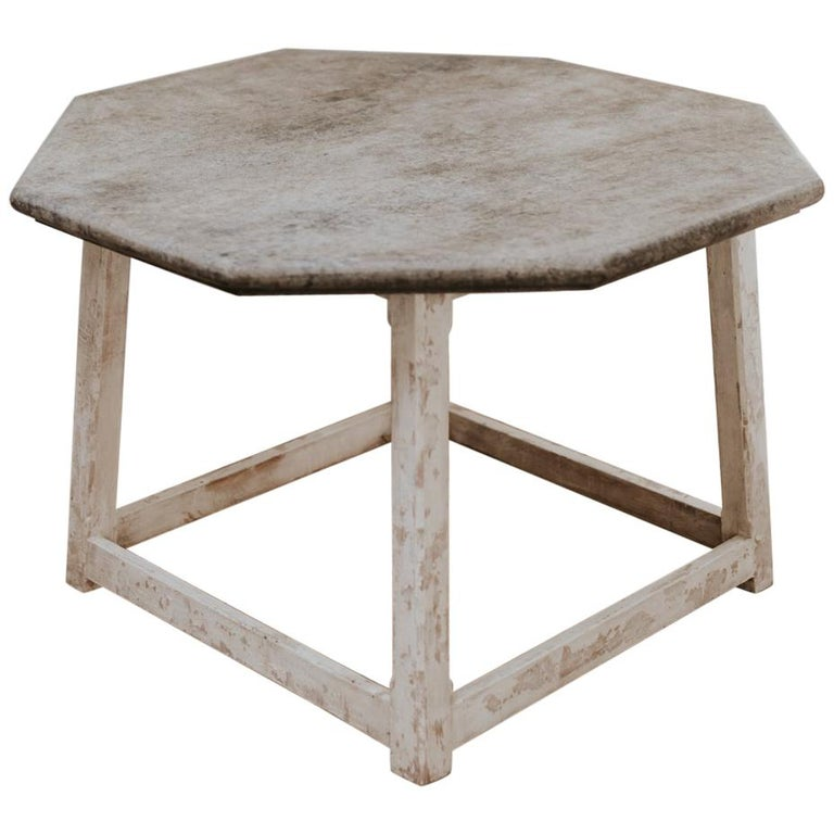 Customized Octagonal Table with Fausse Pierre Top For Sale
