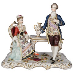 Antique German Meissen School Hand Painted and Gilt Porcelain Figural Group