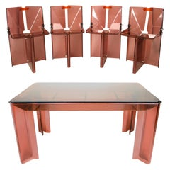 Michel Ducaroy Attributed Unique Smoked Perspex Dining Table and Chairs