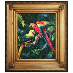 Exotic Pair of Parrots Painting, Oil on Canvas