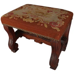 Antique Continental Carved Walnut and Tapestry Footstool, circa 1850