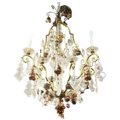 Hollywood Regency Monumental Crystal Fruit Chandelier