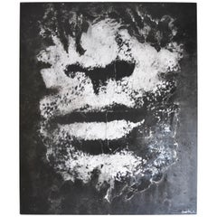Italian Pop Artist Anna Bianchi's Lenny Kravits Abstract Black and White Acrylic