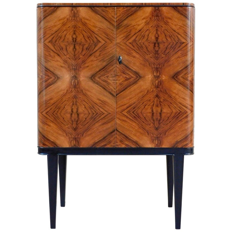 Swedish Art Modern Dry Bar or Sideboard in Book Matched Walnut, circa 1940 For Sale