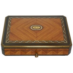 Swiss Exotic Wood, Nacre and Brass Card Games Box, Complete, circa 1890