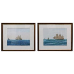 Pair of Swedish Paintings of Ships at Sea