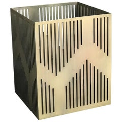 Art Deco Inspired Paper Bin or Planter Electroplated in Antique Brass or Bronze